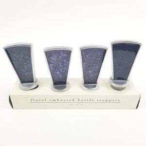 4 Pier 1 Imports Floral Embossed Bottle Stoppers